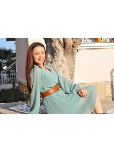 Mint Yeşili Şifon Elbise