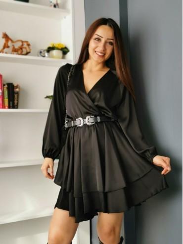 Siyah Amerikan Saten Elbise